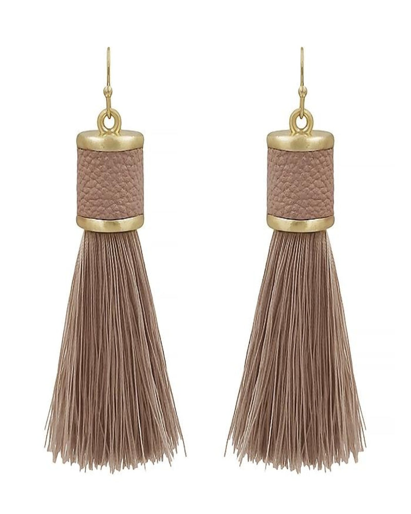 Leather Tassel Earring-Accessories-What's Hot Jewelry-PInk-Inspired Wings Fashion
