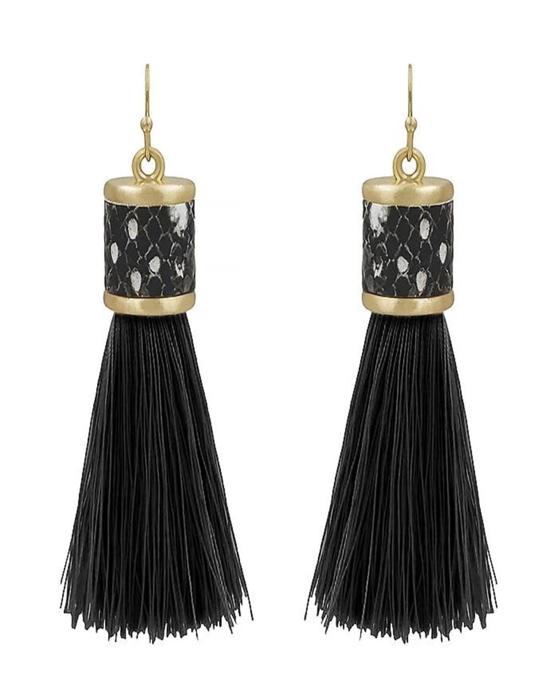 Leather Tassel Earring-Accessories-What's Hot Jewelry-White-Inspired Wings Fashion