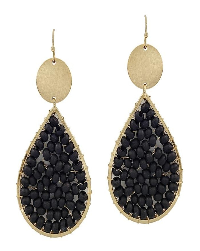 "Wood Wired and Gold 2"" Teardrop Earrings-Accessories-What's Hot Jewelry-Black-Inspired Wings Fashion"