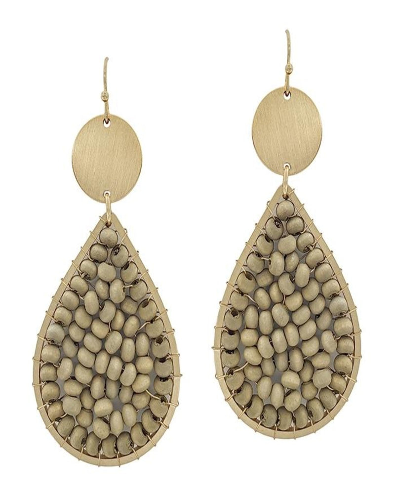 "Wood Wired and Gold 2"" Teardrop Earrings-Accessories-What's Hot Jewelry-Grey-Inspired Wings Fashion"