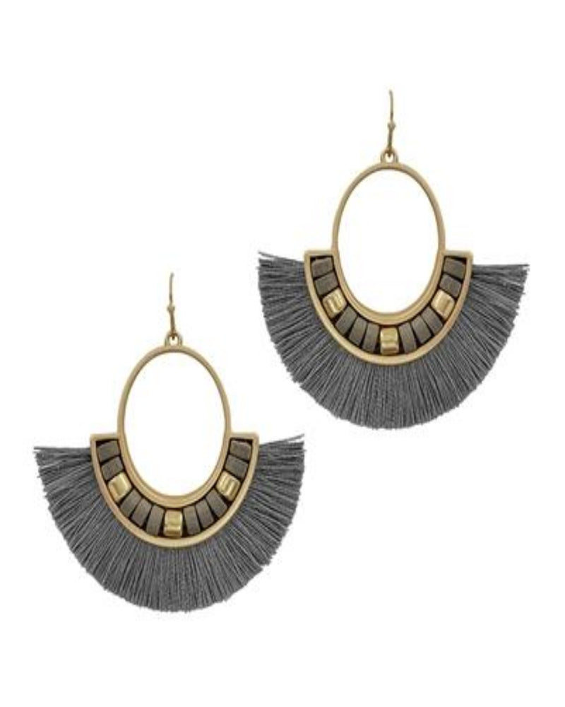 Diva Grey Fan Tassel Earrings-Accessories-What's Hot Jewelry-Inspired Wings Fashion