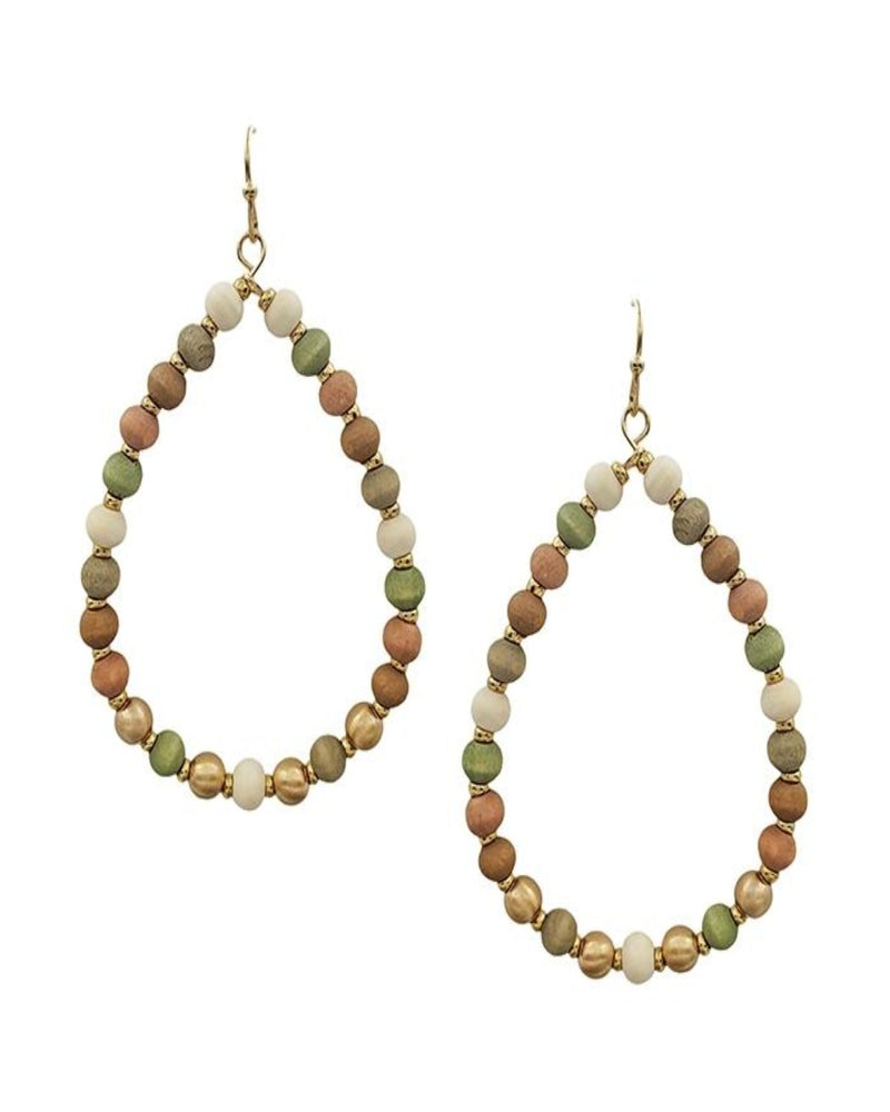 "Wood Beaded Teardrop 2.5"" Earring-Accessories-What's Hot Jewelry-Multi-Inspired Wings Fashion"
