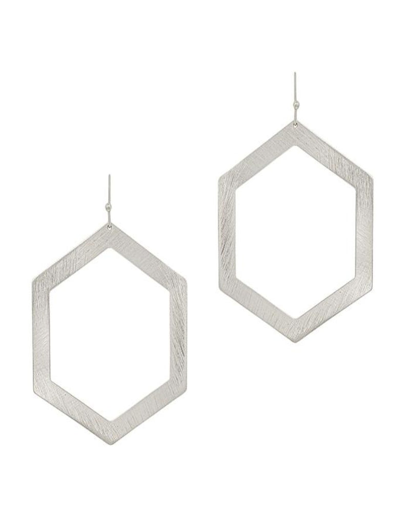 "Silver Satin Open Hexagon 2.5"" Earring-Accessories-What's Hot Jewelry-Inspired Wings Fashion"