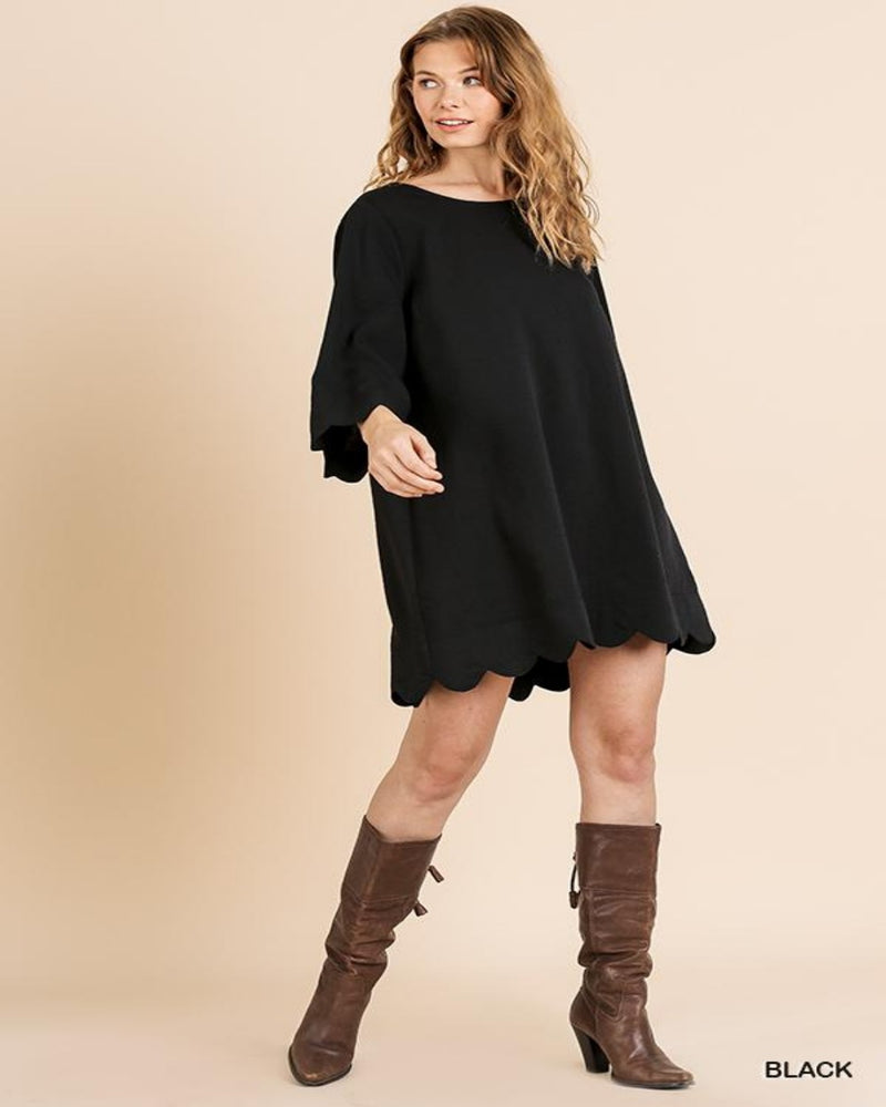 Comfy Scallop Dress-Dresses-Inspired Wings Fashion-Small-Black-Inspired Wings Fashion