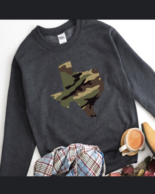 Camo Glitter Sweater-Sweaters-Inspired Wings Fashion-XL-Charcoal-Inspired Wings Fashion