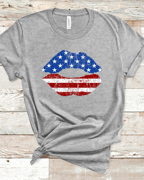 American Flag Lips T-Shirt-Tops-Inspired Wings Fashion-Small-Inspired Wings Fashion