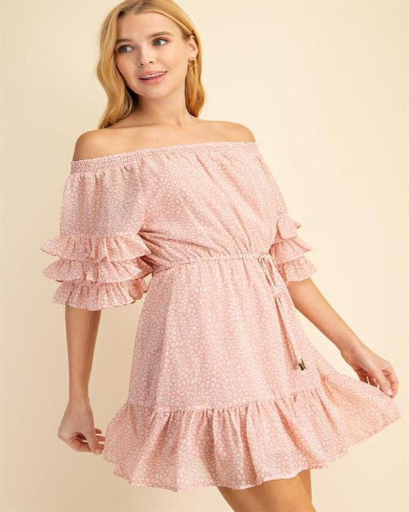 Off Shoulder Leopard Print Dress-Dresses-L Love-Small-Blush-Inspired Wings Fashion