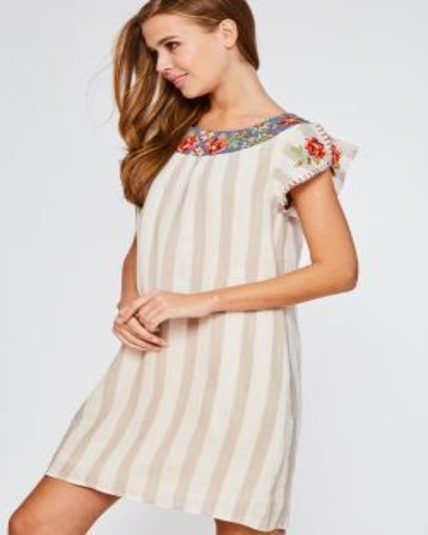Embroidered Dress- Taupe
