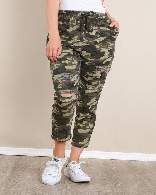 Camo Printed Distress Pants-bottoms-LLove-Small-Inspired Wings Fashion