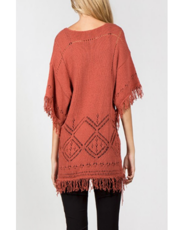 Always Having Fun Fringe Sweater Rust