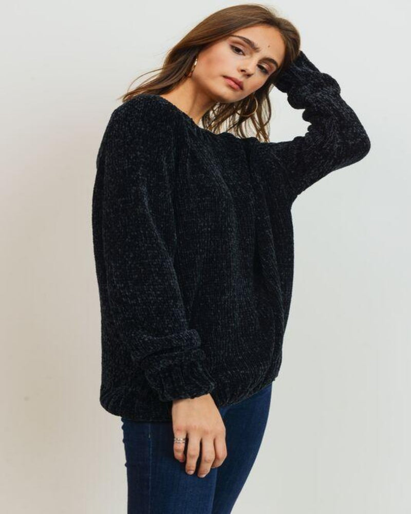 Chenille Sweater Knit Top-Sweaters-Inspired Wings Fashion-Small-Black-Inspired Wings Fashion