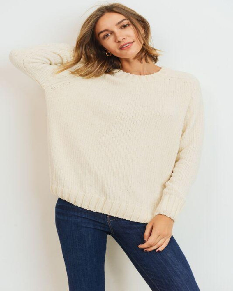 Chenille Sweater Knit Top-Sweaters-Inspired Wings Fashion-Small-Off White-Inspired Wings Fashion
