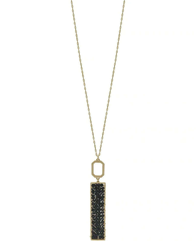"Gold 34"" Necklace with Gold Crystal Wired Rectangle-Accessories-What's Hot Jewelry-Black-Inspired Wings Fashion"