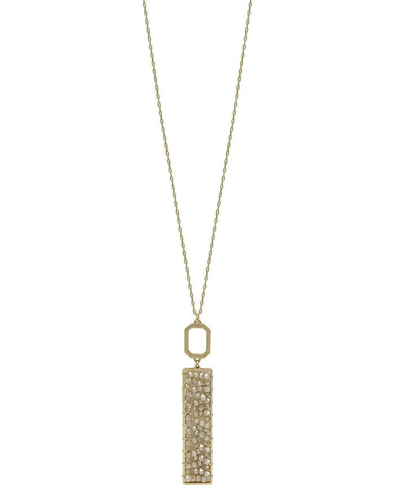 "Gold 34"" Necklace with Gold Crystal Wired Rectangle-Accessories-What's Hot Jewelry-Natural-Inspired Wings Fashion"