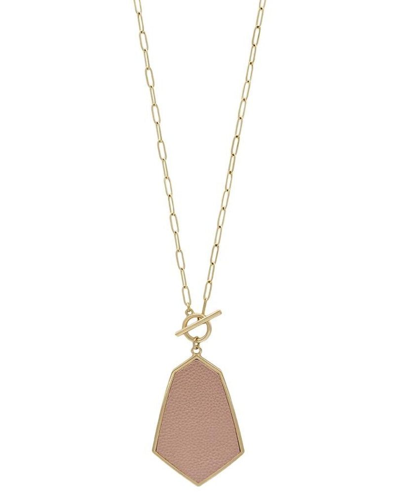 "Gold Toggle 34"" Necklace with Pink Leather Geometric Drop-Accessories-What's Hot Jewelry-Inspired Wings Fashion"