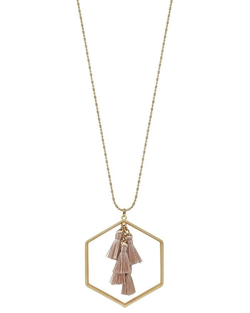 "Gold 34"" Necklace with Tassel and Gold Hexagon-Accessories-What's Hot Jewelry-Pink-Inspired Wings Fashion"