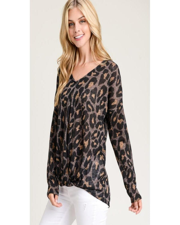 Hopeful Heart Sweater- Leopard