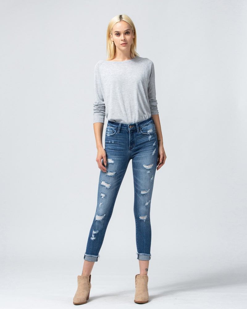 Fray Cuffed Crop Skinny Jeans-bottoms-Flying Monkey Jeans-24-Inspired Wings Fashion