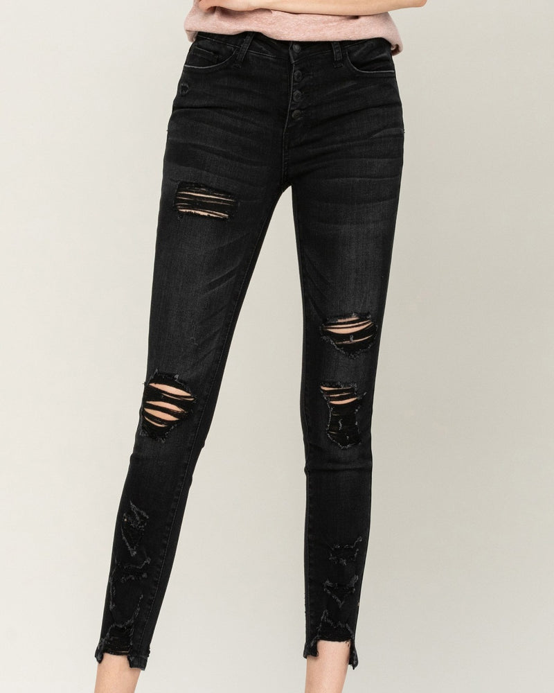 Think Black Crop Skinny Jeans-bottoms-Flying Monkey Jeans-24-Inspired Wings Fashion