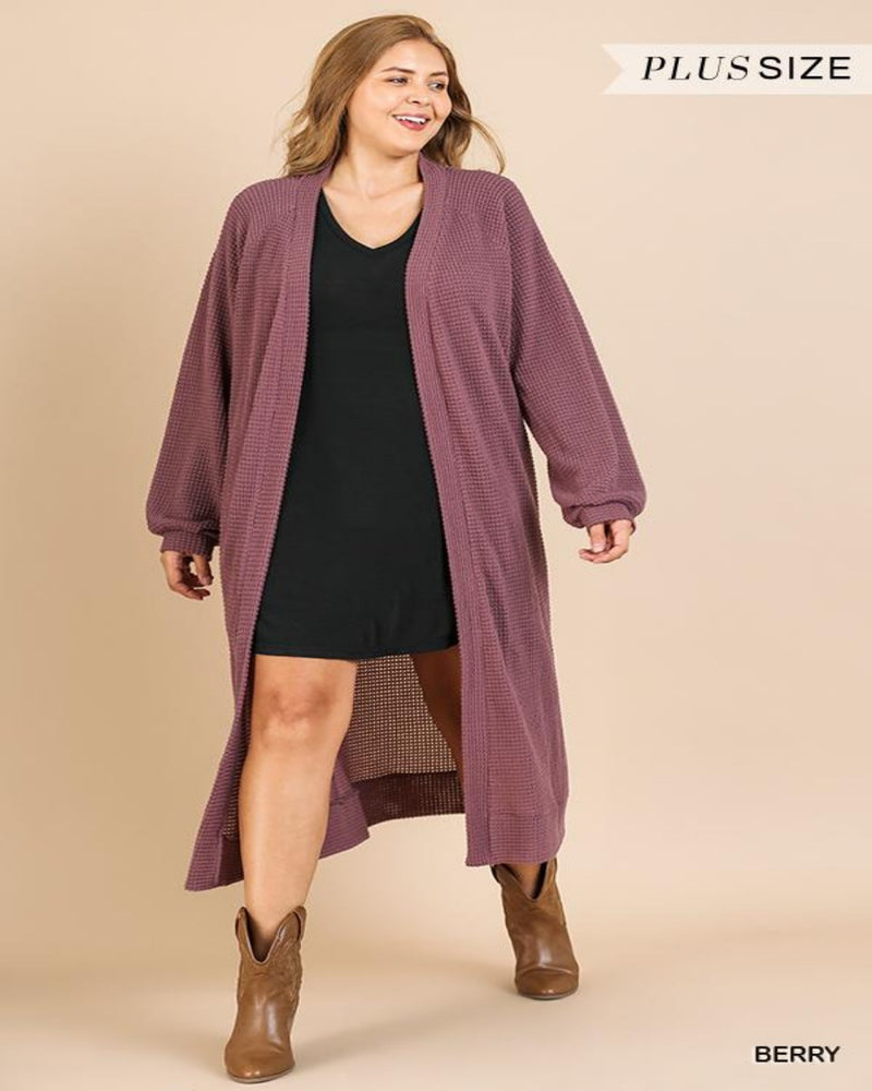 Berry Waffle Cardigan-Plus Size-Inspired Wings Fashion-XL-Inspired Wings Fashion