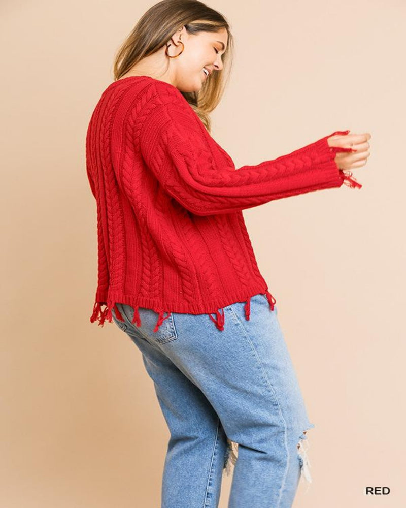 Favorite Frayed Sweater-Plus Size-Inspired Wings Fashion-XL-Cream-Inspired Wings Fashion