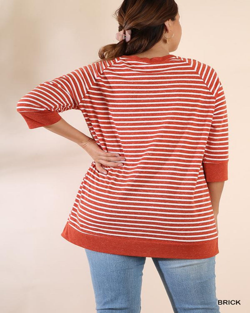 Loving Striped Top-Plus Size-Inspired Wings Fashion-XL-Brick-Inspired Wings Fashion