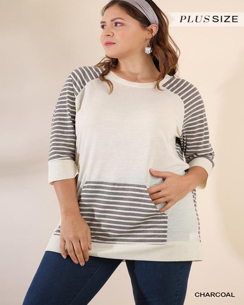 Loving Striped Top-Plus Size-Inspired Wings Fashion-XL-Charcoal-Inspired Wings Fashion