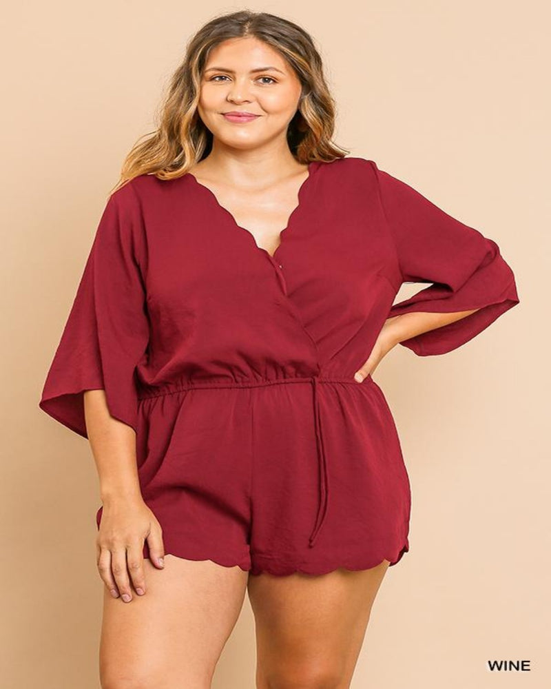Bell Sleeve Romper-Plus Size-Inspired Wings Fashion-XL-Wine-Inspired Wings Fashion