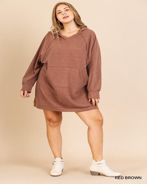Waffle Dress Hoodie- PLUS-Plus Size-Inspired Wings Fashion-XL-Red Brown-Inspired Wings Fashion