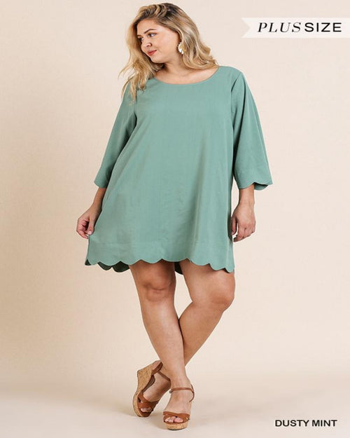 Comfy Scallop Dress-curvy-Inspired Wings Fashion-XL-Dusty Mint-Inspired Wings Fashion