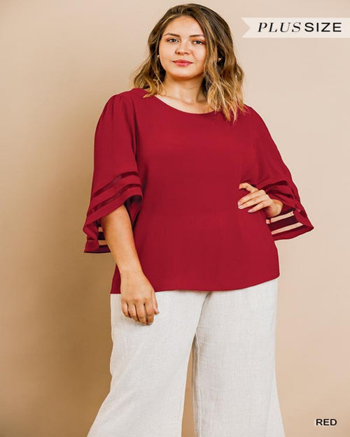 Bell Sleeve Blouse-Plus Size-Inspired Wings Fashion-1XL-Red-Inspired Wings Fashion