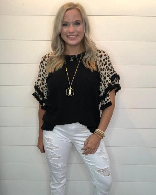 Love Leopard Fray Top-Tops-Umgee-Small-Black-Inspired Wings Fashion