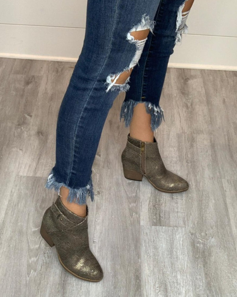 Gun Metal Booties-Shoes-Corky's-6-Inspired Wings Fashion