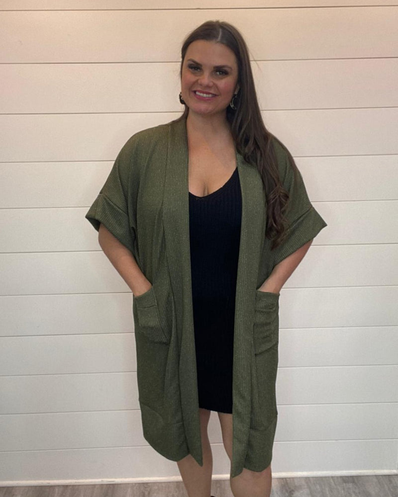 Cuffed Kimono Cardigan-Cardigans-Mixbe Inc.-Small-Olive-Inspired Wings Fashion
