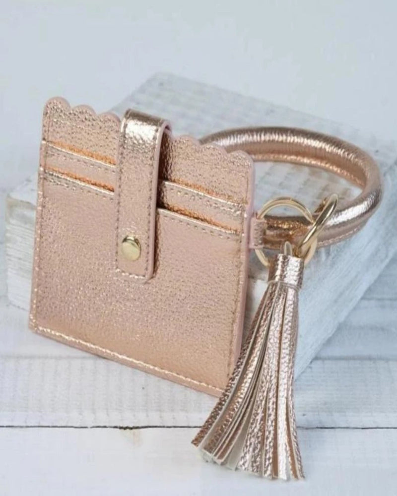 Card Wallet With Key Ring Bangle-Accessories-Lauren Lane-Rose Gold-Inspired Wings Fashion