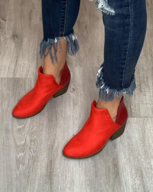 Red Suede Booties-Shoes-Corky's-6-Inspired Wings Fashion