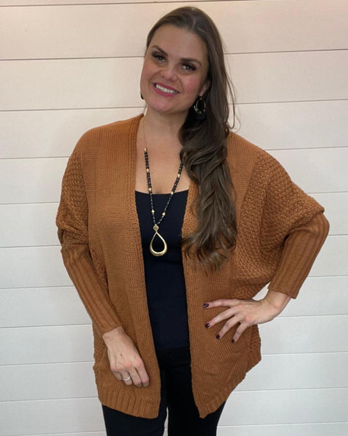 Open Front Knit Cardigan-Cardigans-LLove-Small-Camel-Inspired Wings Fashion