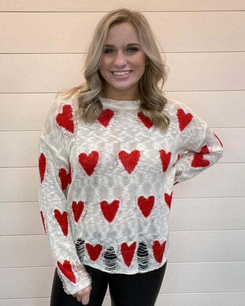 Distressed Heart Sweater-Tops-BiBi-Small-White-Inspired Wings Fashion