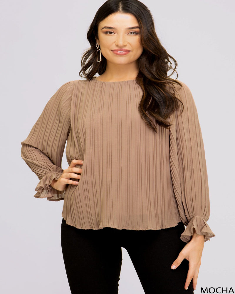 Woven Pleated Ruffle Top-Tops-She+Sky-Small-Mocha-Inspired Wings Fashion