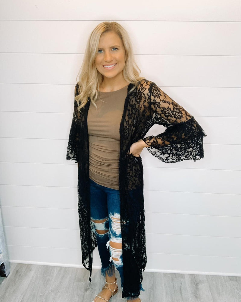 Lace Around Me Cardigans-Cardigans-Southern Grace Wholesale-S/M-Inspired Wings Fashion