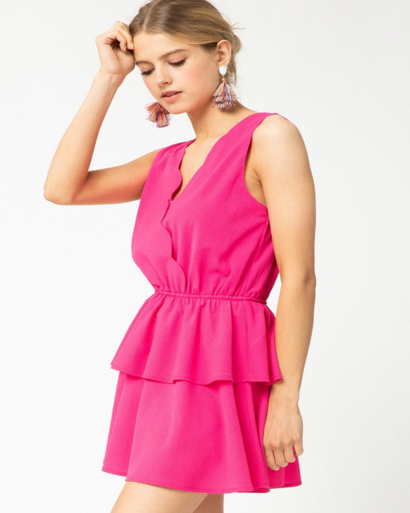 Solid Ruffle Tiered Romper-Romper-Entro-Small-Hot Pink-Inspired Wings Fashion