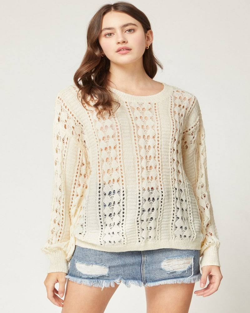 Open Knit Long Sleeves Top-Tops-Entro-Small-Inspired Wings Fashion