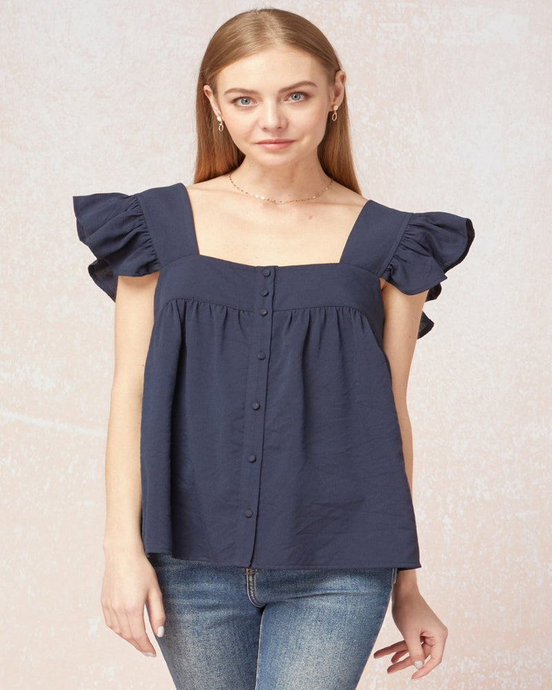 Babydoll Ruffle Top-Tops-Entro-Small-Inspired Wings Fashion