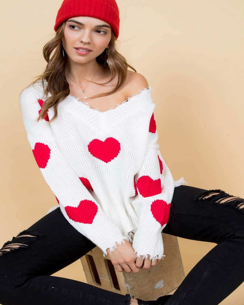 Valentines Heart Sweater-Sweaters-Main Strip-Small-Inspired Wings Fashion