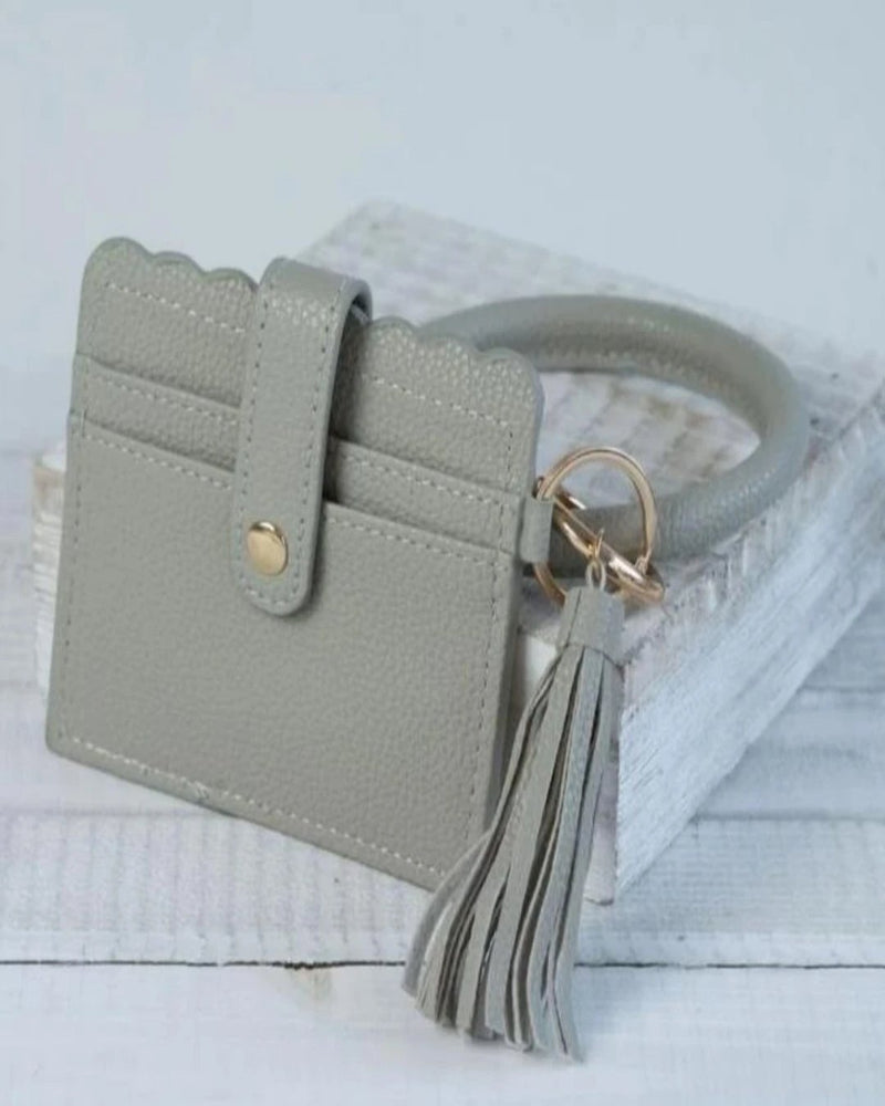 Card Wallet With Key Ring Bangle-Accessories-Lauren Lane-Grey-Inspired Wings Fashion