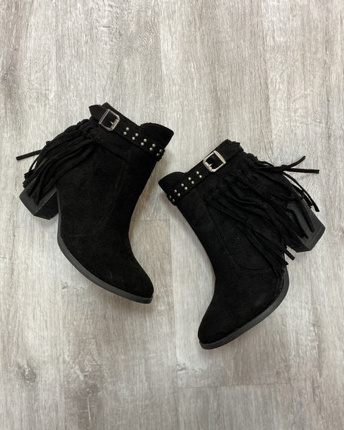 Flirty Fringe Black Booties-Shoes-Very G-6.0-Inspired Wings Fashion