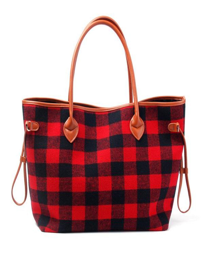 On The Go Tote-Bag and Purses-Alibaba-Red Plaid-Inspired Wings Fashion