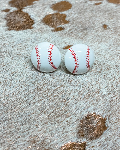 Baseball Stud Earrings-Accessories-Suzie Q USA-White-Inspired Wings Fashion