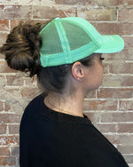 Lime Green Messy Bun Hat-hat-Cheveux-Inspired Wings Fashion