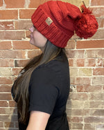 Slouchy Pom Pom Beanie-Accessories-Suzie Q-red-Inspired Wings Fashion